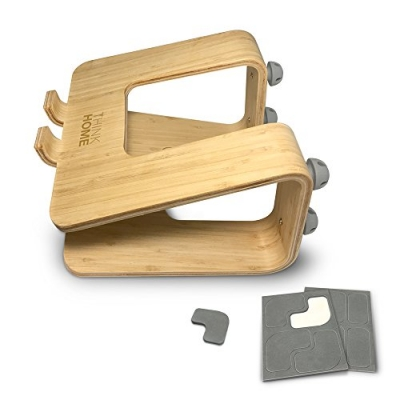 Think Home Ergonomic Bamboo Laptop Stand with Cable & Wire Organizer and Management System (Rubber Cable Holder, & Clips)