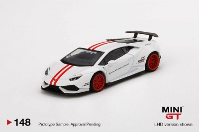 Mini GT LB WORKS Lamborghini Huracan Version 1 White/Red Stripe