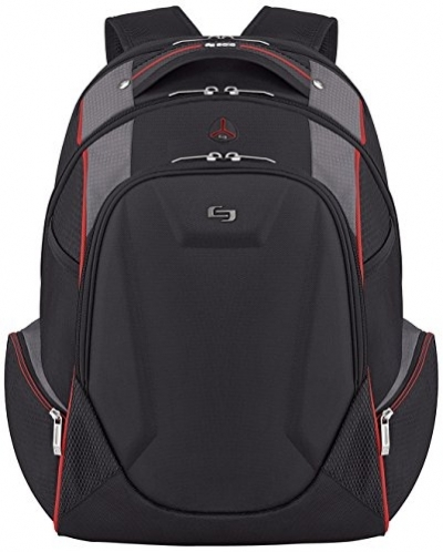 Solo Launch 17.3 Inch Laptop Backpack with Hardshell Front Pocket, Black